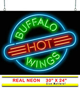 Buffalo Hot Wings Neon Sign | Jantec | 30 X 24 | Pizza Subs Salad Bar And Grill