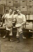 Men Drinking Beer Bottles French Bros Wooden Crates +++ Photography Rppc