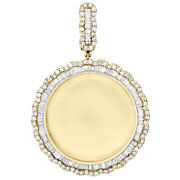 10k Yellow Gold Baguette Diamond Memory Picture Frame Pendant 2.1 Charm 2.35 Ct