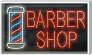 Outdoor Barber Shop With Pole Neon Sign   Jantec   37 X 22   Hair Cut Shave