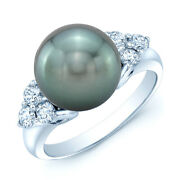 Black South Sea Pearl Diamond Ring 14k White Gold Natural 11.5 Mm Cocktail