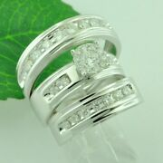 1.50 Ct 14k White Gold Trio Natural Diamond Ring Engagement Set His And Hers 3pc