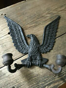 Vintage Federal Eagle Black Patriotic Metal Figural Double Candle Wall Sconce