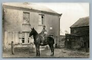 German Red Cross Officer On Horse W/ Sword Wwi Antique Real Photo Postcard Rppc