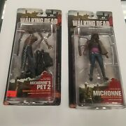 2013 The Walking Dead Mcfarlane Michonne And Pet Zombie 2 Series 3 Two Figure Lot