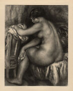 1919 Limited Renoir Signed Japon Engraving The Seated Bather Framed Coa