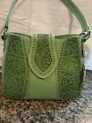 Trinity Ranch 100 Genuine Leather Mint Green Concealed Gun Carry Purse With Tag