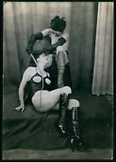 Medium Size Photo Biederer Lesbian Leather Mistress French Nude Woman Old C1925