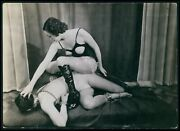 Medium Size Photo Biederer Leather Mistress And Male Slave French Nude Woman C1925