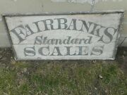 Early Vintage Fairbanks Standard Scales General Store Wooden Advertising Sign