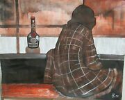 P.d. Dom Benedictine Woman At A Bar Original Oil On Canvas Painting