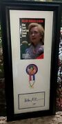 Hillary Clinton Psa/dna Signed Cut Professional Framed W/book And Political Button