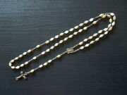 J1754  Antique Art Deco Rosary French Capped Horn Beads Length 49 Cm