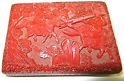 Rare Carved Chinese Soldiers Battle Scene Cinnabar Lacquer Enamel Humidor Box