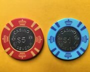 Lot Of Two Casino Seven Poker Chips - 1 And 5 -las Vegas Club - Metal Coin Inlay