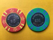 Lot Of Two King's Club Casino 5 And 25 Poker Chips Las Vegas Metal Coin Inlay