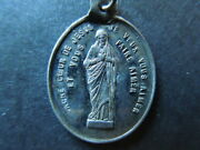 J1762 Religious  Antique Medal  Sacred Heart French Sterling Silver See D