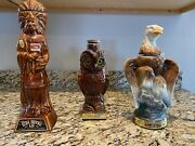 Ezra Brooks Indian , James Beam Eagle And Double Springs Owl Antique Decanters