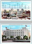 2 Postcards Fort Worth Tx Skyline Identified Buildings Court House C1940s