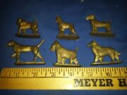 Vtg Lot 6 Plastic Dogs All Different Cereal Premium Dollhouse Size Shipping Incl