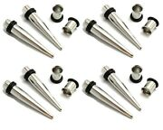 4 Pairs 9mm 10mm 11mm 12mm Steel Ear Stretching Kit Tapers Tunnels Gauges Plugs