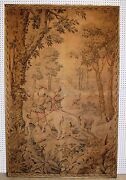 Antique French Embroidered Hunting Tapestry Dogs Horses Circa 1870 Gold Trim
