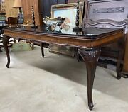 Antique Country French Hand Carved Walnut Granite Top Louis Xv Table Desk C 1870