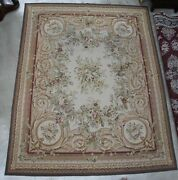 Antique French Needlepoint Aubusson Hand Knotted Tapestry Rug 122x 96 C1910