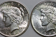 Two Mint State Peace Silver Dollars 1 1924 And 1 1925 Stock Num4418