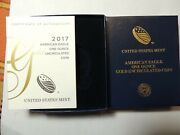 2017-w 50 Gold American Eagle One Ounce Uncirculated Coin Box And Coa No Coin
