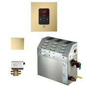6kw Steam Bath Generator With Itempo Autoflush Square Package In Satin Brass