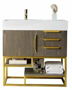 Columbia 36 Single Vanity, Ash Gray, Radiant Gold W/glossy White Solid Surfa...