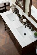 60 In. Solid Surface Top Double Vanity In Burnished Mahogany