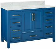 Eviva Evvn413-48blu Navy 48 Inch Deep Blue Carrera Counter-top And White Unde...
