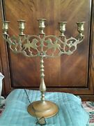 Solid Brass Vintage 5 Candle Candelabra With Lion Design And Candle Snuffer