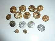 Vintage Military Buttons Lot Of 15 Eagle W/anchor Seal Brass/gold Tone Navy Ab