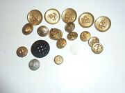 Vintage Military Buttons Lot Of 19 Navy Anchor Seal Brass/metal Gold Tone Ac