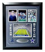 Dallas Cowboys Texas Stadium Authentic Game Used Turf Framed Collage Coa Steiner