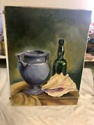 Mcm Oil Painting Still Life Conch Shell Antique Bottle And Pottery Vase