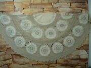 Vintage Round Crochet Tablecloth Topper 66andrdquo Hand Embroidered