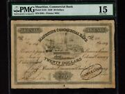 Mauritiusp-s125,20=4 Pounds,1839 Mauritius Commercial Bank Pmg Vf 15