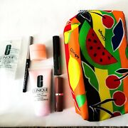 Clinique Makeup Bag With Cleanser, Lipstick, Eyeliner, Mascara, Eyecream N Jelly