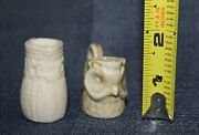2 Old Antique Small Miniature Pottery Pitchers 1 Bisque And 1 Figural Owl
