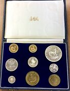 1963 South Africa Proof Set Of 9 1 And 2 Rand .3532 Oz Gold Mintage 1,500 Scarce