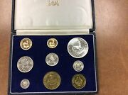 1962 South Africa Proof Set Of 9 1 And 2 Rand .3532 Oz Gold Low Mintage 1,544