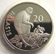 Gambia 1989 Monkey 20 Dalasi Silver Coinproof