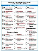 Laminated Boating Safety Education Equipment Checklist And Boat Knot How To Guide