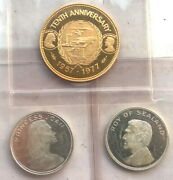 Sealand 1977 Roy Set Of 3 Silver Gold Coins,proof,rare