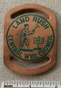 Vtg 1957 Central Wyoming Council Boy Scout Land Rush Leather Neckerchief Slide