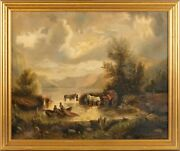Oil On Canvas Fishing Mountains Wagon Horse Painting Signed Artist Framed 1894